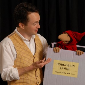 David Hyde Costello with hobgoblin puppet